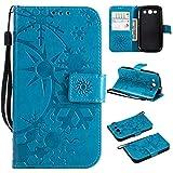 Sangrl Funda para Samsung Galaxy S3 (i9300) / S3 Neo, PU Leather Cover Flip Soporte Case [Función de Soporte] [Titular de la Tarjeta] Antigolpes Wallet Flip Case Cielo Azul