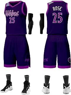 Jerseys De Baloncesto para Hombre - Conjunto De Jersey Derrick Rose Detroit Pistons # 25, Camiseta Sin Mangas Unisex De Tela Transpirable Fresca + Pantalones Cortos + Manga,4XL:185cm/80~90cm