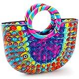 iTechjoy Push Bubble Fidget Pop on it Women's Latest Colorful Handbags,Pop Bubble Fidget Sensory Toy Handbags.