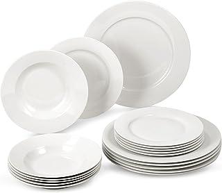 suntun Assiettes Porcelaine Service de Table 6 Personnes, 18 pièces Ronde Blanc Crème Assiettes Service de Vaisselle Compl...
