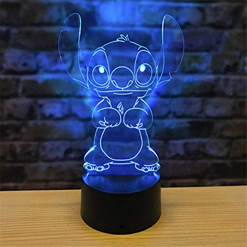 3D Illusion Lamp Led Night Light Stitch Cartoon Action Desk Lamp 7 Colors Change Decorative Bedroom Decor Kids Baby Gift
