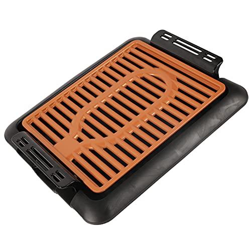 Plancha eléctrica Antiadherente, Antiadherente Parrilla eléctrica más segura y saludable para interiores para interiores o exteriores(pink)