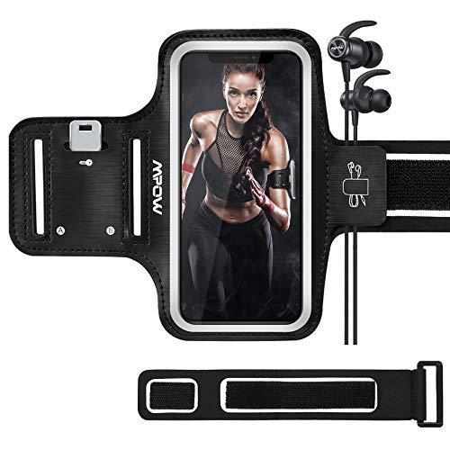 Mpow Sportarmband Handy für iPhone 8/7/6 Bis Zu 5.8 Zoll, schweißfest Handy Armband Joggen mit Verlängerungsband, Sportarmband für iPhone,Huawei P20 Lite, Samsung Galaxy J5, schwarz, JHMPPA069AB-DEAA2