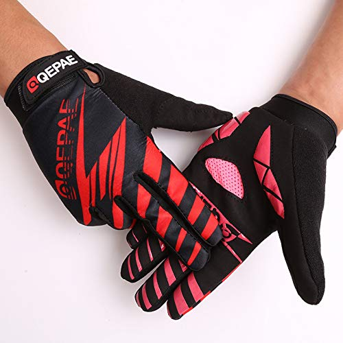 Guantes de Ciclismo de Dedo Completo de Silicona Transpirable al Aire Libre para Mujer Guantes de Equipo Deportivo masculino-rojo-XL-B242