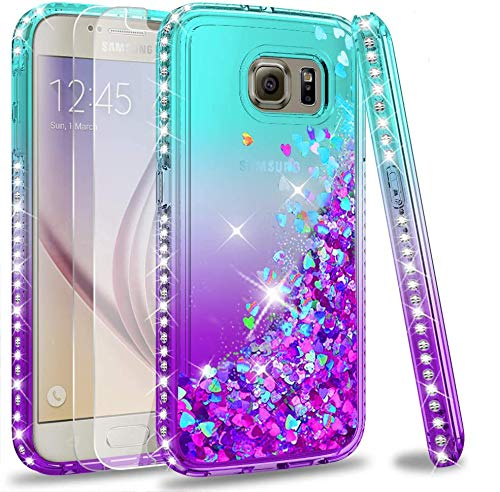 LeYi Hülle Galaxy S6 Glitzer Handyhülle mit Panzerglas Schutzfolie(2 Stück),Cover Diamond Rhinestone Bumper Schutzhülle für Hülle Samsung Galaxy S6 Handy Hüllen ZX Gradient Turquoise Purple
