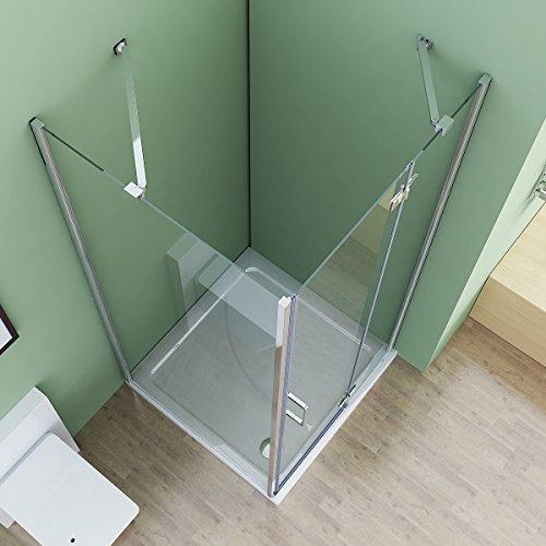 90 x 70 x 195 cm Duschkabine Eckeinstieg Dusche Falttür Duschwand mit Seitenwand NANO