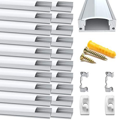 Chesbung LED Aluminium Profil 1m, 20er Pack in U-Form für LED-Strips/Band bis 12 mm) inkl. Abdeckungen in milchig-weiß, Endkappen, und Montagematerial