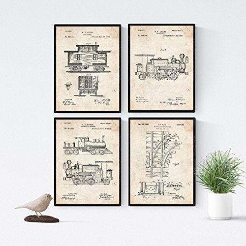 Nacnic Vintage - Pack de 4 láminas con Patentes del FERROCARRIL. Set de Posters con inventos y Patentes Antiguas. Elije el Color Que más te guste. Impreso en Papel de 250 Gramos