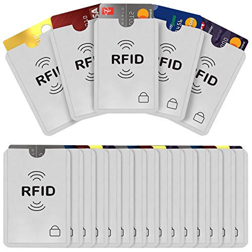 Savisto RFID Blocking Credit Card Sleeves | 20 Pack of Contactless Card Protection Holders for Identity Theft Protection - Ideal for Debit and Credit Cards, ID & Key Cards - Silver