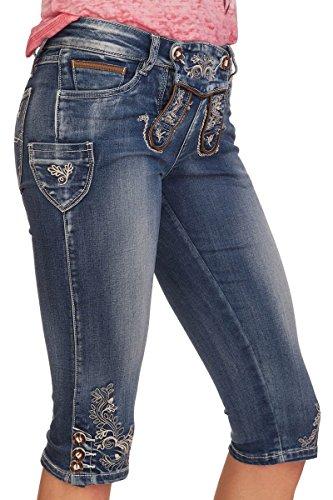 MarJo Trachten Damen Kniebund Jeans - Franziska - blau, Größe 38