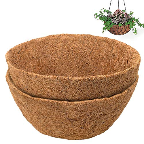 caiyuankai 2PCS Round Replacement Coco Liner for Hanging Basket, 12 inch Coconut Fiber Plant Basket Liner for Garden Planter Flower Pot (12 inch Round)
