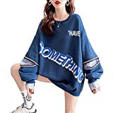 Mfacl Sudadera Linda con Capucha for Mujer Ropa de Mujer Camisa de otoño tamaño Grande suéter Suelto Coreano EN S Chaqueta de Manga Larga (Color : Blue, Size : M)