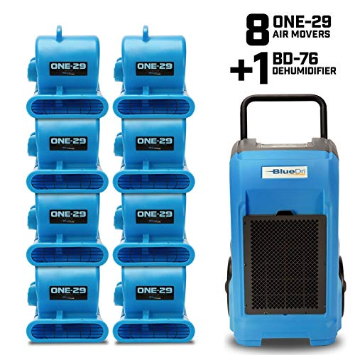 Discover Bargain BlueDri Resto Pack, 8X One-29 Air Movers & 1x BD-76 Commercial Dehumidifier. Indust...