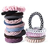 Spove Spiral Hair Ties Hair Coils Non-slip Coil Ponytail Holders Seamless Phone Cord Hair Ties, Elastics Hair Tie for Women & Kids 15pcs Assorted