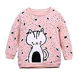 BOBORA Sweat-Shirt Bébé Fille, Vetement Bébé Filles Chemise Hiver a Manches Longues avec Modèle de Chat Mignon pour 1-7Ans
