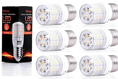 Seitronic Set van 6 E27 LED-lampen met 3 Watt, 240 LM en 48 LED's - warm wit 2900 K, vervangt 35 W, warm wit - SMD LED-lampen - 160 ° stralingshoek [energieklasse A ]