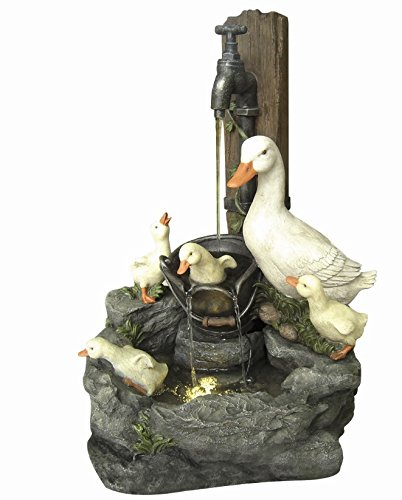 Direct Global Trading Duck Family at Tap Water Feature with Lights