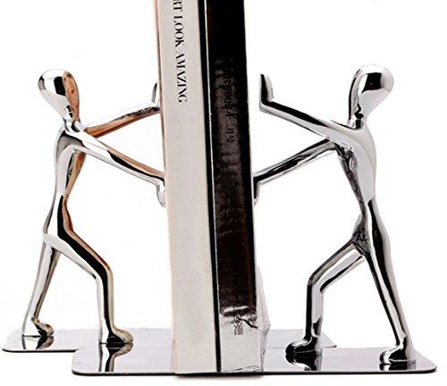 Tebery hombre - Sujetalibros, Sujetalibros metálicos - color Plata - 1 par
