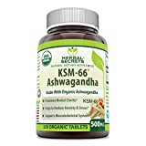 Herbal Secrets USDA Certified Organic KSM-66 Ashwagandha Extract 500 Mg 120 Organic Tablets (Non-GMO) -Promotes Mental Clarity* Helps to Reduce Anxiety & Stress* Supports Musculoskeletal System*