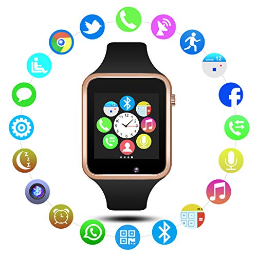 Padgene Bluetooth Smart Watch GSM Phone Watch with Camera for Samsung Nexus HTC Sony and Other Android Smartphones (Gold)
