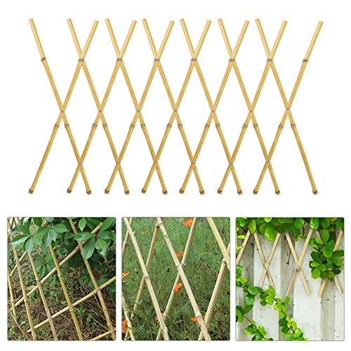 """2 Pack 12"""" x 70"""" Nature Bamboo Trellis with Rivets- Expandable Freestanding Garden Plant Support Trellis"""