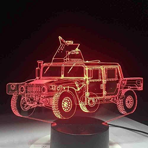 Dalovy Lámpara de Mesa Led 3D con Forma de Camión Militar para Festival, Placa de Metacrilato, Luz de Noche Artesanal, Luz Decorativa Innovadora de Color, Regalo para Niños