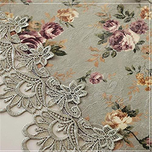 AYQX Mantel de Encaje Bordado Crochet Mantel Elegante Mesa de Comedor Floral Europeo Decoración para el hogar Mantel 110x110cm Flor Verde