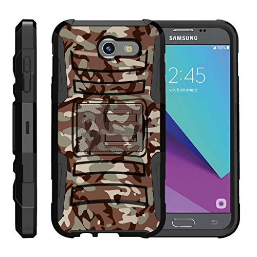 turtlearmor | Kompatibel für Samsung Galaxy J3Emerge Schutzhülle | J3(2017) [Hyper Schock] Armor Rugged Hybrid Auswirkungen Holster Gürtelclip Cool Designs -, Armee Camouflage