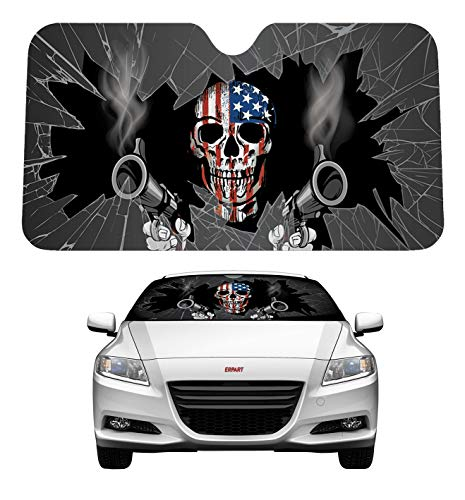 ERPART Patriot Skull Shooter Guns Reflective Double Sided Sunshade Compatible with Car Truck SUV Front Windshield Window Reversible Sun Shade Universal 24x58 inches