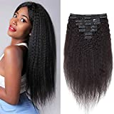 Extension Cheveux Humain Naturel Extension Bresilien A Clip [8 Piece 18 Clips] Afro Kinky Straight Clip in Hair Extension - 26'/66CM, Noir Naturel