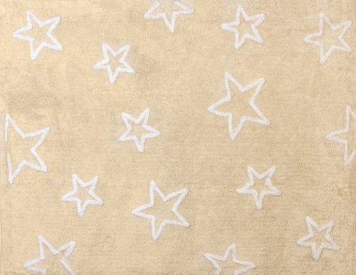 Aratextil Estrella Alfombra Infantil, Algodón, Beige, 120x160 cm