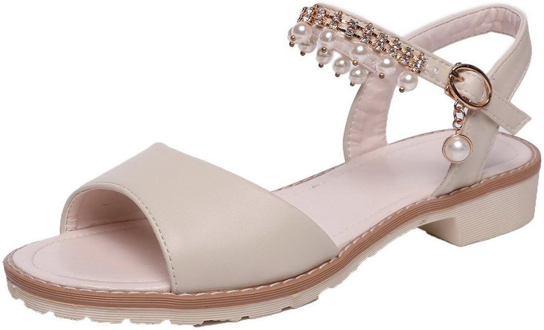 AmoonyFashion Women's Open-Toe Low-Heels Pu Solid Buckle Sandals, BUTLS007341