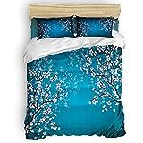 Duvet Cover Set Printed 4 Pcs Bedding Set Full Size Include Duvet Cover, Bed Sheet, Pillow Shams Spring Cherry Blossoms Soft Quilt Sets for Children/Adults