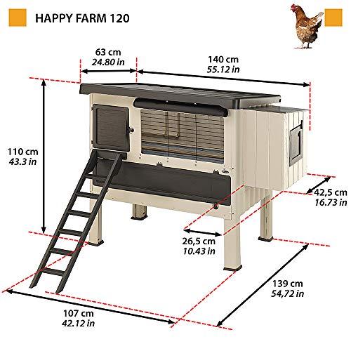 Ferplast Gallinero de Exterior Happy Farm 120 para gallinas ponedoras, Resina termoplástica y Madera, para Aproximadamente 6 gallinas, Accesorios incluidos, 140 x 139 x h 110 cm, Beige