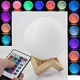 Lampe Lune 3D Télécommande Dealbay Lumière de Pépinière Veilleuse 16 Couleurs RGB Changeant Dimmable Lumière d'humeur Lune USB Rechargeable Gift Decor Lamp 12cm (12cm)