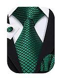 Barry.Wang Mens Ties Silk Tie Pocket Square Cufflinks Set Woven Designer Emerald Green