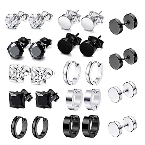 Chou 12 Pairs/Set Stainless Steel Punk Earrings Hip Hop Rock Ear Studs Drop Dangle Pendant Unisex Women Men Jewelry Gifts
