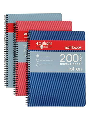 Eastlight Notizbuch, A4, Spiralbindung, liniert und perforiert, 200 Seiten, verschiedene Farben, 3 Stück