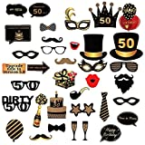 LUCY WEI 35pcs 50 ° Compleanno Photo Booth Props,Compleanno Cabina Fotografica Puntello p...