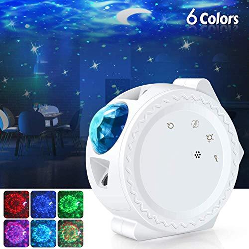 UOUNE Sternenhimmel Projektor LED Projektionslampe mit Mond/Stern/Wasserwelleneffekt, Starry Night Lampe für Kindergeschenk/Party/Zimmer Deko
