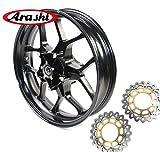 Arashi Llantas de rueda delantera y Rotores de disco de freno para YAMAHA YZF R1 R1M R1S RN32 2015 2016 2017 Accesorios para motocicletas YZF-R1 YZF-R1M Negro brillante 15 16 17