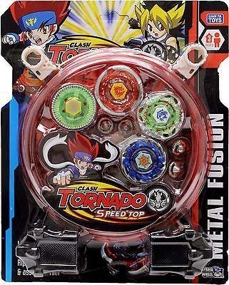 DIJG Beyblades 4-in-1 Metal Fighter Fury with Fight Ring and Handle Launcher for Kids