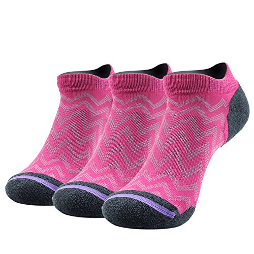 Running Sport Socks, Pack of 3 Gmark Women's Crew High Performance Bamboo Sock Cycling CrossFit Mountain Biking Home Exercise Father's Day Gift Socks Rose-Red