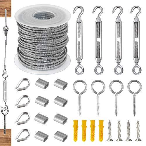 Juego de cables de alambre de acero inoxidable de 15 m, cuerda de acero inoxidable con ganchos de ojales, cuerda de acero inoxidable 304, con tensor de cuerda M5