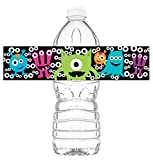Little Monsters Waterproof Bottle Labels - 20 Bottle Labels - Monster Party Decorations - Cute Monster Party Supplies - Halloween Birthday Decorations - Bottle