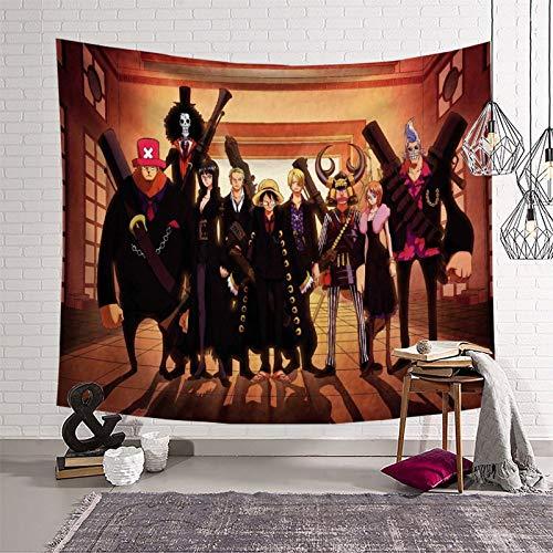 Decoración de pared y hogar para dormitorio, anime de una sola pieza, póster de Luffy y todos los roles, decoración de sala de estar, listo para colgar, ropa de cama de 210 x 150 cm
