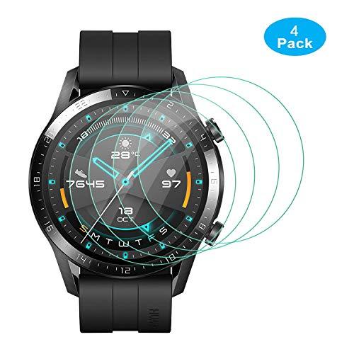 [4 Stück] Huawei Watch GT 2 Smartwatch 46mm Panzerglas Schutzfolie, [Blasenfreier] 9H Härte, Anti-Kratzen, Anti-Öl Glasschutzfolie für Huawei Watch GT 2