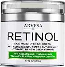 Retinol Cream for Face, Neck & Décolleté - Made in USA - Anti Aging Wrinkle Cream for Women and Men with Hyaluronic Acid and Active Retinol 2.5% - Day and Night Moisturizer- Results in 4 Weeks