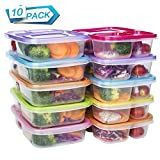 Meal Prep Containers 3 Compartment Food Storage Reusable Plastic Bento Microwavable Lunch Boxes with...