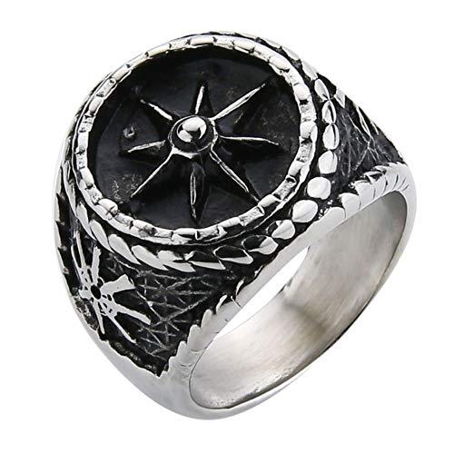 Valily zilveren heren ring vintage roer touw ontwerp zwarte titanium ring roestvrij staal vinger band biker sieraden ringen voor mannen
